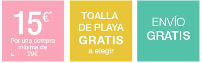 -15€ por una compra + Toalla de playa Gratis a elegir + Envío Gratis