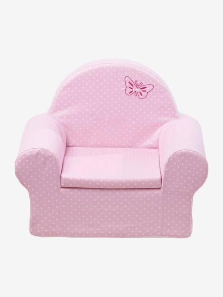 Sill n de espuma rosa p lido lunares blancos vertbaudet for Sillon cama espuma