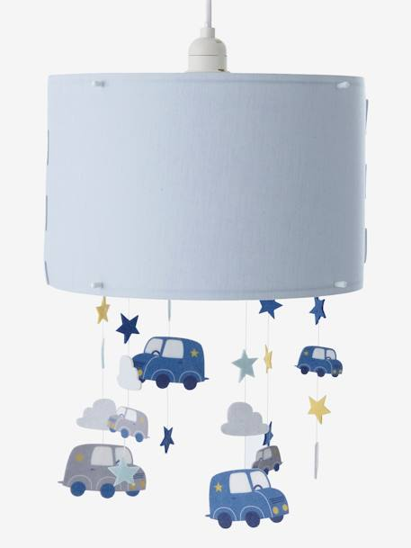 Pantalla de l mpara de techo nubes y coches azul medio for Abat jour chambre enfant