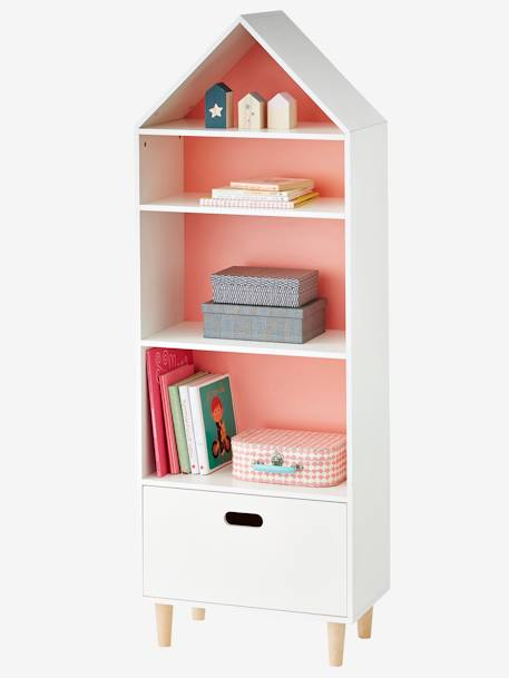 Mueble de almacenaje casita con 5 casilleros blanco for Muebles para almacenaje