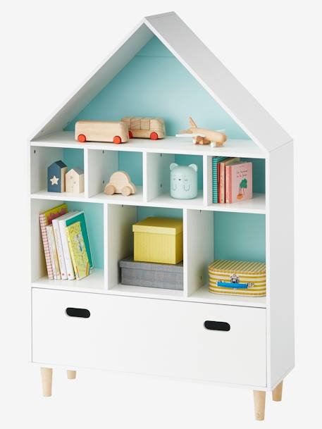 Mueble de almacenaje con 9 casilleros casita blanco for Mueble almacenaje bano