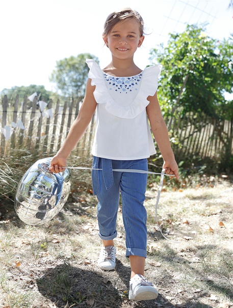 Niña-Looks-Look blanco y azul
