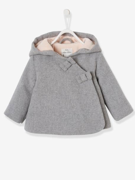 nuevo producto 23957 876eb Abrigo con capucha para bebé niña de paño de lana forrado y guateado gris  claro jaspeado - Vertbaudet