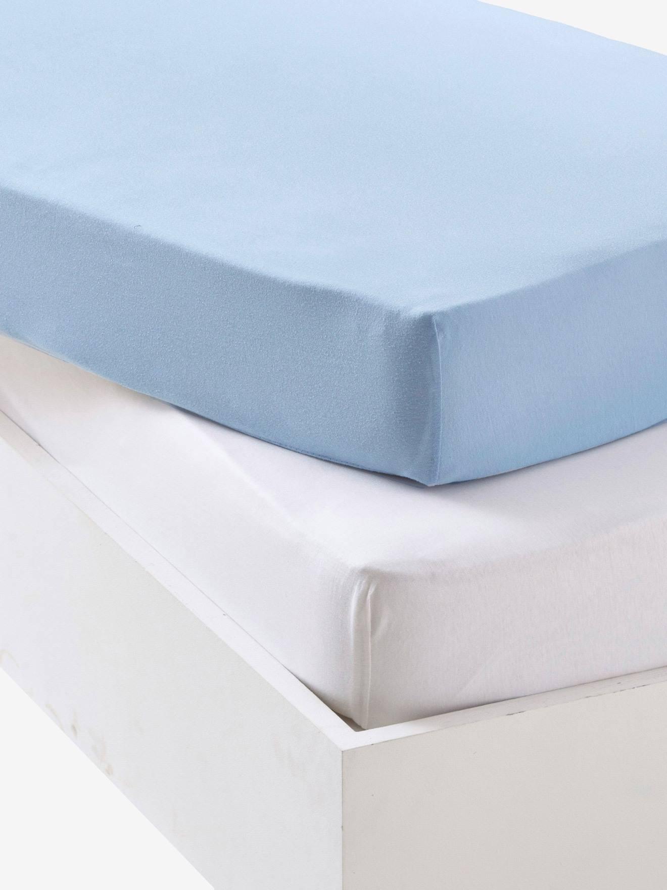 1 azul 2 s/ábanas bajeras ajustables para beb/é Chicco Next2Me 100/% algod/ón 1 blanco