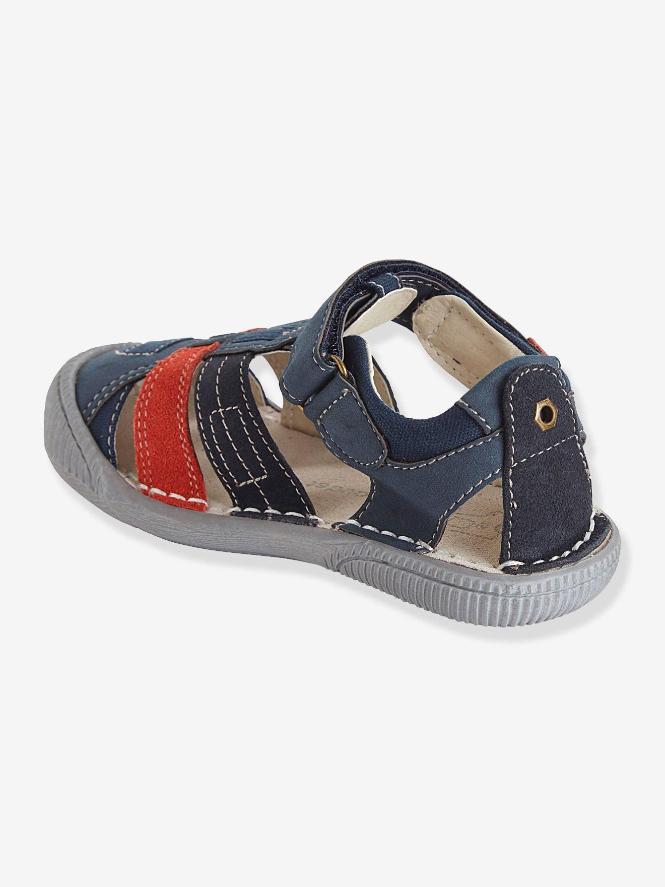 Sandalias de piel especial guardería, para niño azul marino