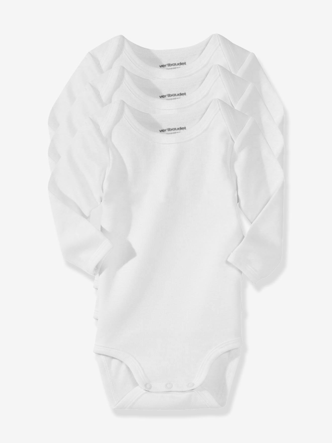 VERTBAUDET Lote de 3 bodies blancos de manga larga 100/% algod/ón reci/én nacido Blanco 12M 74CM