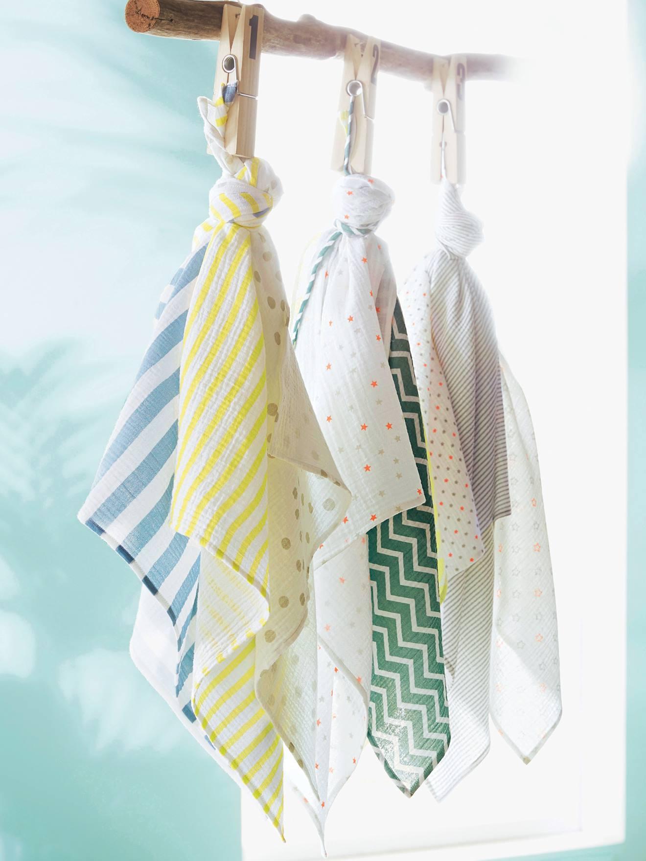 bd74e0fa4a Lote de 3 paños de bebé multicolor rayas y lunares - Vertbaudet