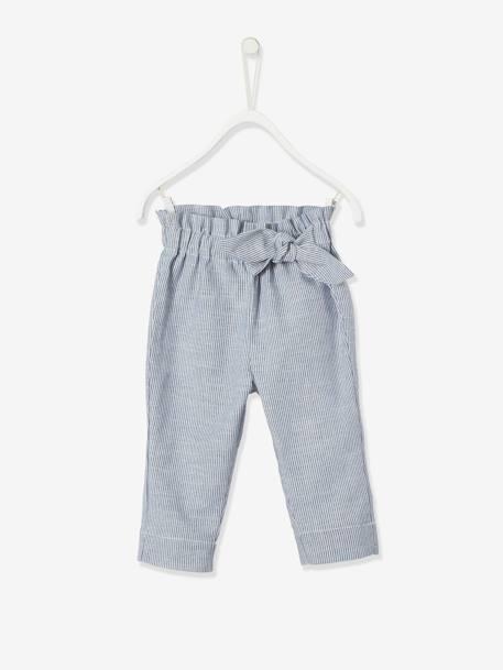 Pantalon Para Bebe Nina A Rayas Con Cintura Elastica Azul Fuerte A Rayas Vertbaudet