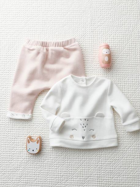 Conjunto Para Bebe Recien Nacido De Sudadera Pantalon Rosa Medio Liso Con Motivos Vertbaudet
