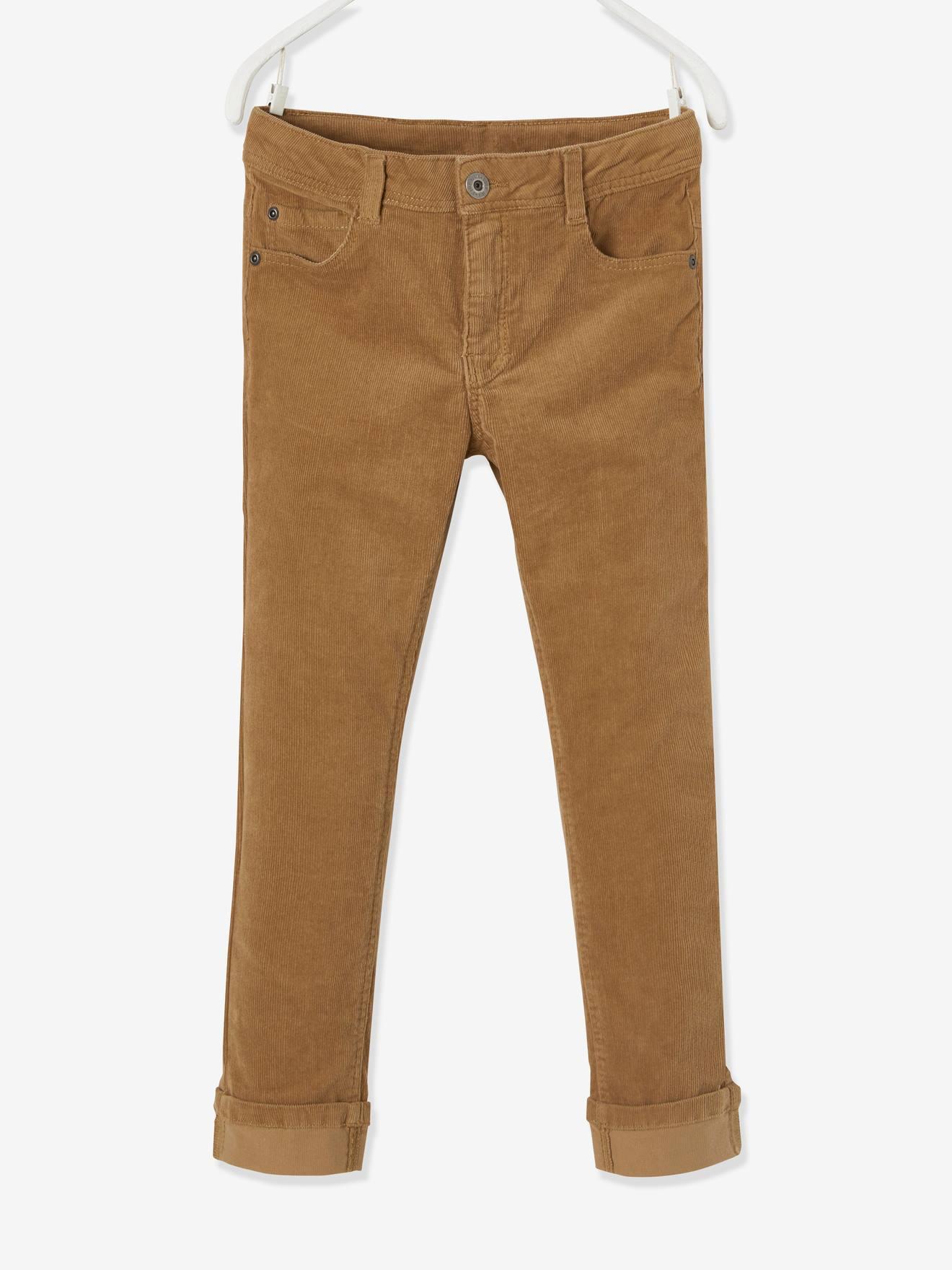 Pantalon Slim De Pana Para Nino Azul Oscuro Liso Con Motivos Vertbaudet