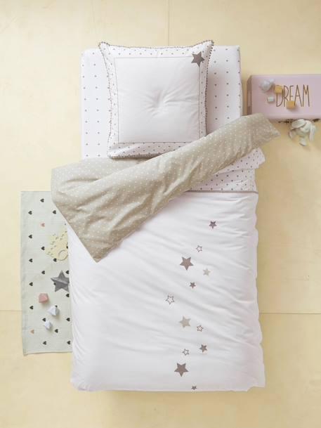 juego de cama funda n rdica funda de almohada lluvia de estrellas blanco estampado vertbaudet. Black Bedroom Furniture Sets. Home Design Ideas