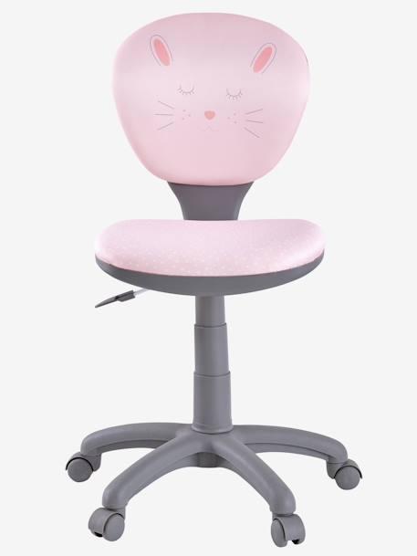Silla escritorio con ruedas rosa conejito vertbaudet for Silla escritorio rosa