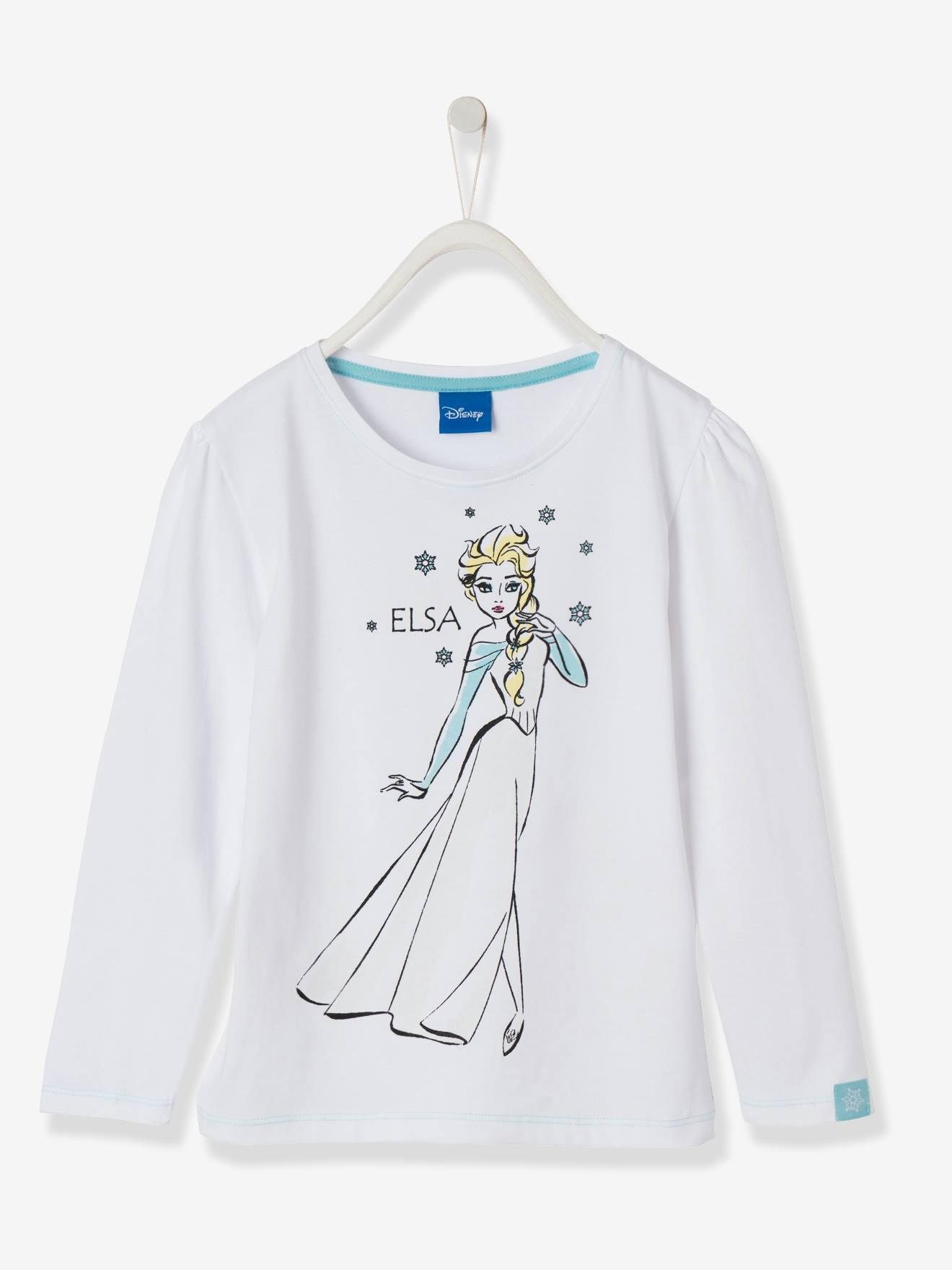 11876c978 Camiseta para niña Frozen® de manga larga. blanco claro liso con adorno -  Frozen