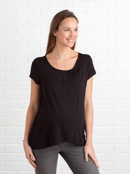 c911c3728 Camiseta con faldones cruzados de lactancia negro oscuro liso - Vertbaudet