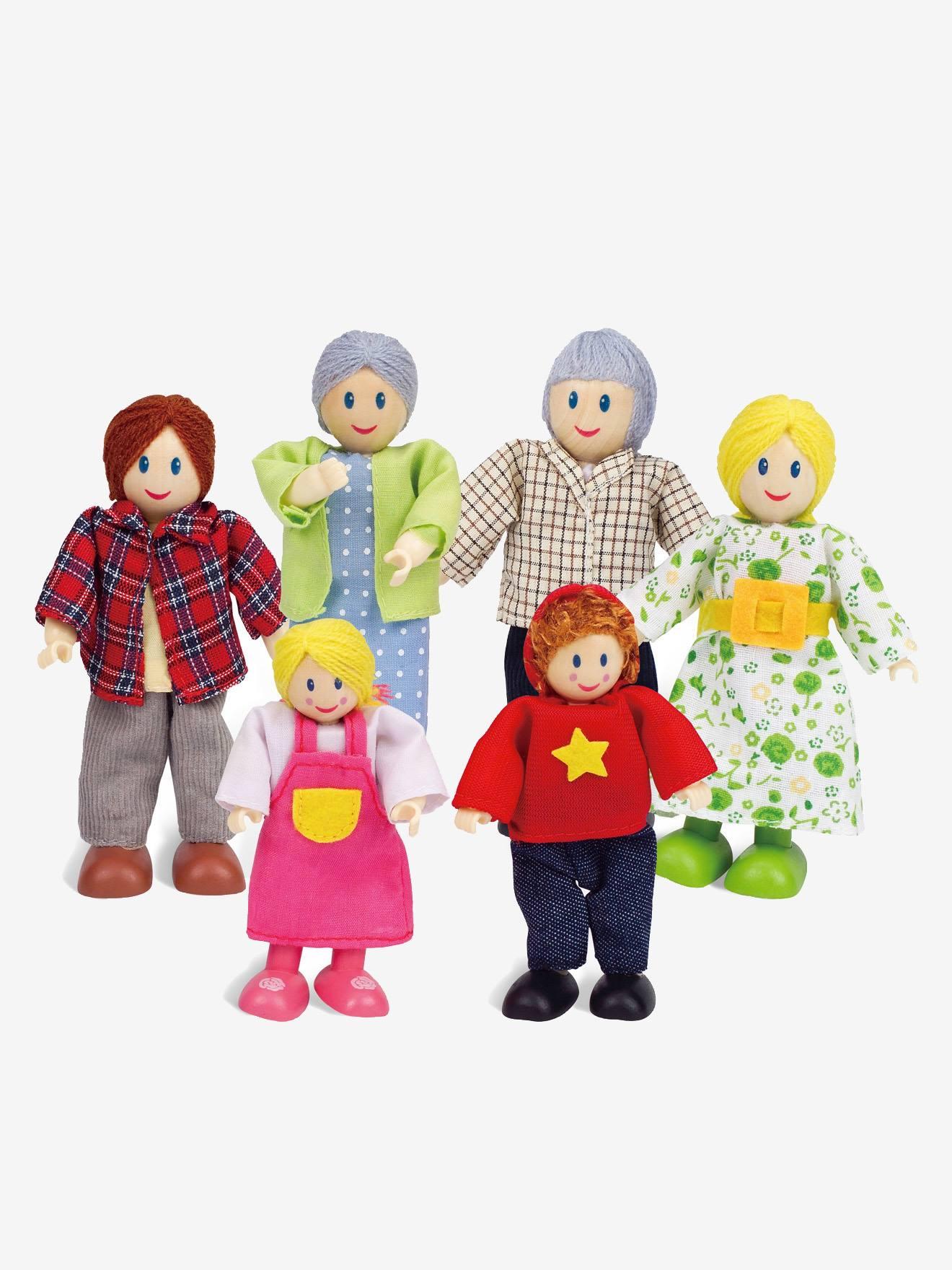 6 Multicolor Madera Hape Familia De Muñecos 7v6gYbyf