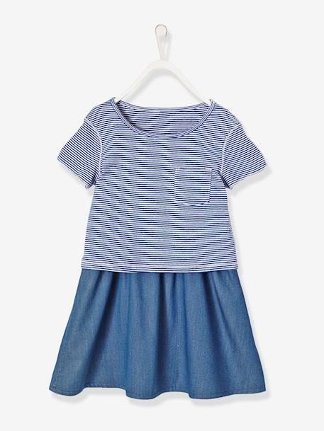 47ea7732a2393 Vestido reversible para niña de dos tejidos Azul oscuro estampado+Rosa  claro estampado