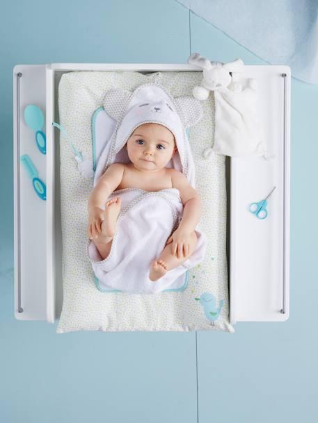 Capa de ba o con capucha bordado animales beb azul gris - Capa bano bebe ...