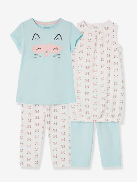 Pijamas-Lote de 2 camisones + 2 leggings niña combinables