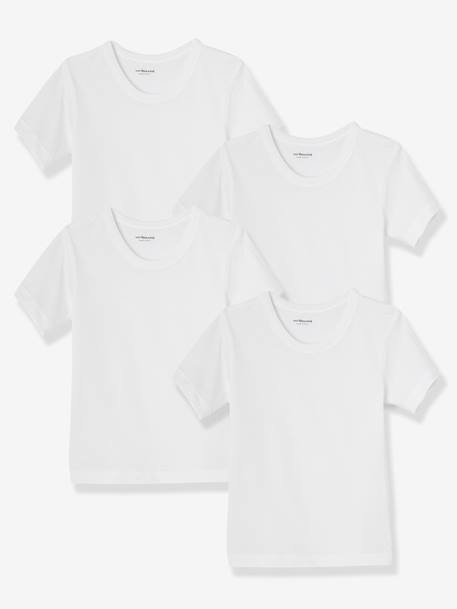 e1eb90dc4 Lote de 4 camisetas de manga corta niño blanco - Vertbaudet