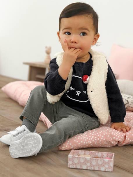 Vaqueros para bebé niña con corte recto Denim natural+Gris claro lavado b58c7b1af71