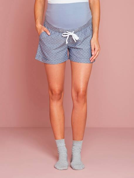 Short homewear de embarazo de chambray estampado Azul medio estampado