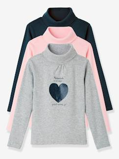 Happy Week-Lote de 3 camisetas de cuello alto niña