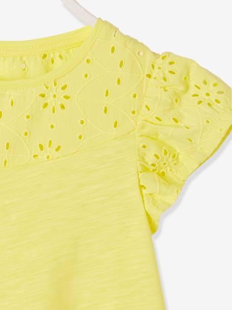 afc4a8c22 Camiseta para niña con bordado inglés y mangas con volantes Amarillo claro  liso+Azul oscuro