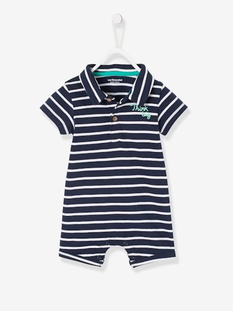8aa9190dc Mono de playa con cuello polo para bebé niño Azul medio a rayas+Azul oscuro