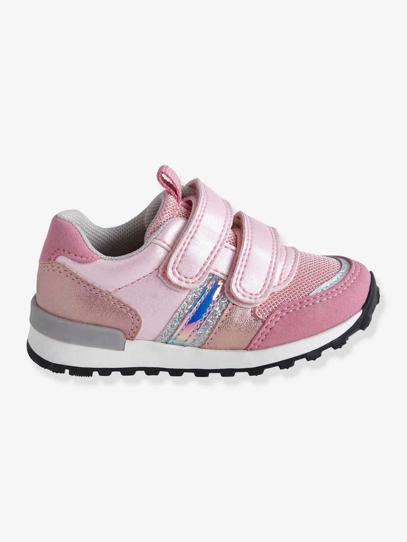 c1b500f3708e Zapatillas deportivas estilo running con tiras autoadherentes bebé niña  azul claro liso con motivos - Vertbaudet