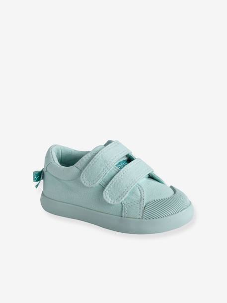 11617277e01 Zapatillas deportivas de lona con tiras autoadherentes bebé niña AZUL MEDIO  ESTAMPADO+VERDE CLARO LISO