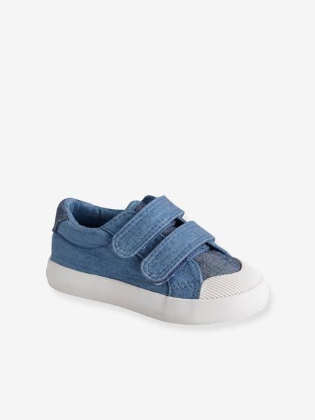 37e81e22a6 Zapatillas deportivas de lona con tiras autoadherentes bebé niño AZUL MEDIO  BICOLOR/MULTICOLOR+BLANCO