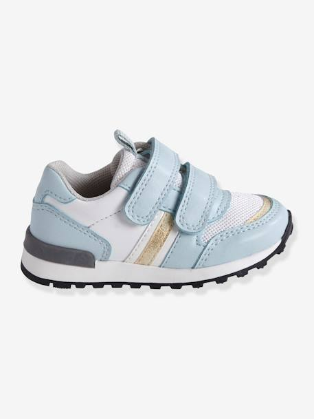72bb46b4ddd2 Zapatillas deportivas estilo running con tiras autoadherentes bebé niña  AZUL CLARO LISO CON MOTIVOS+ROSA