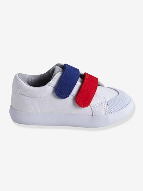 db638058a Zapatillas deportivas de lona con tiras autoadherentes bebé niño AZUL MEDIO  BICOLOR MULTICOLOR+BLANCO