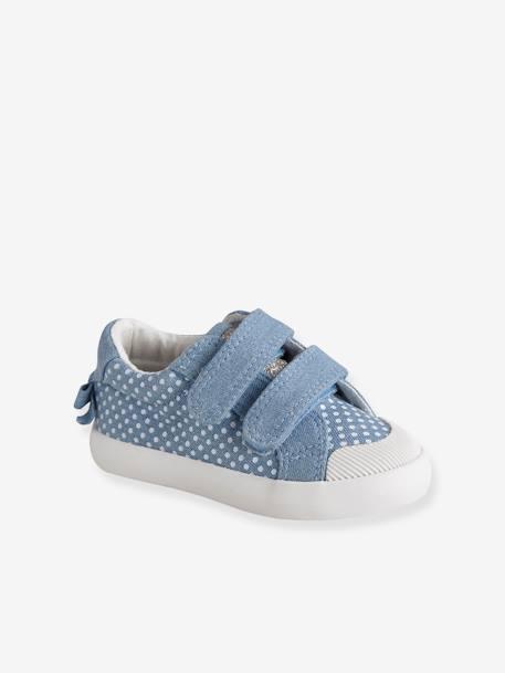 6b7e30390 Zapatillas deportivas de lona con tiras autoadherentes bebé niña AMARILLO  CLARO LISO CON MOTIVO+AZUL