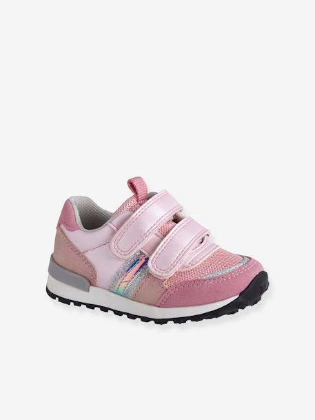 cfbdaa41e56 Zapatillas deportivas estilo running con tiras autoadherentes bebé niña  AZUL CLARO LISO CON MOTIVOS+ROSA