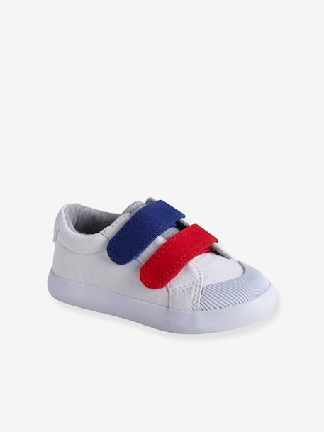 07507e5bc80b7 Zapatillas deportivas de lona con tiras autoadherentes bebé niño AZUL MEDIO  BICOLOR MULTICOLOR+BLANCO