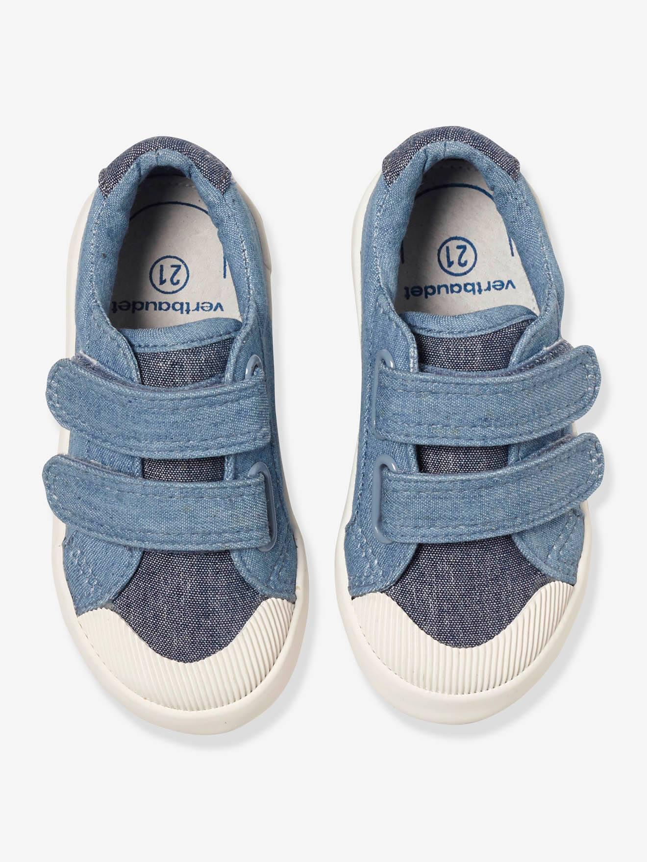 ad85e6ce4 Zapatillas deportivas de lona con tiras autoadherentes bebé niño rojo medio  liso con motivos - Vertbaudet