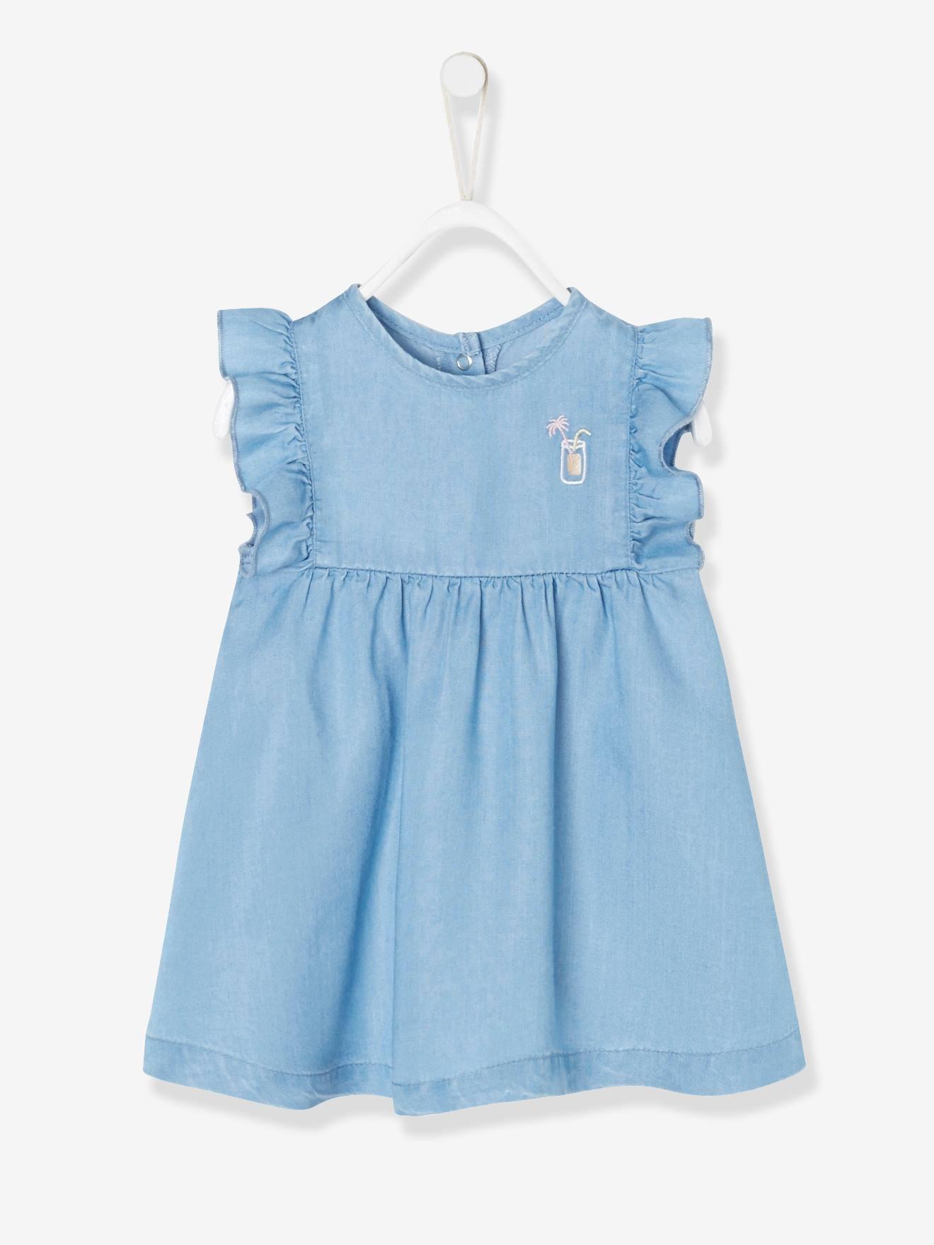 3d8605df1 Conjunto de bebé con vestido + pantalón bombacho de denim ligero azul claro  lavado - Vertbaudet