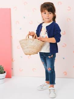 Denim-Vaqueros slim niña con bordado de mariposas