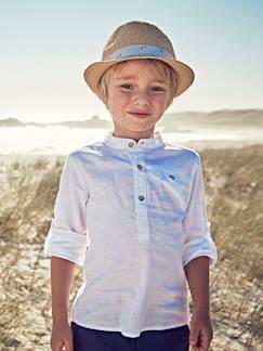 530d5d648 Niño-Camisas-Camisa de lino algodón para niño con cuello mao