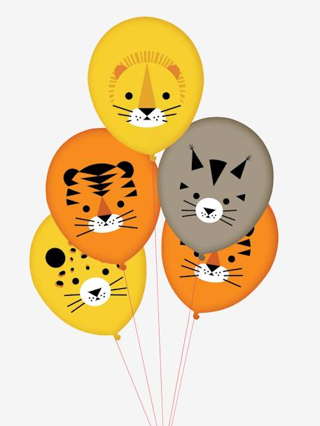 Lote de 5 globos MY LITTLE DAY AMARILLO MEDIO ESTAMPADO+BLANCO FUERTE ESTAMPADO+VERDE MEDIO ESTAMPADO
