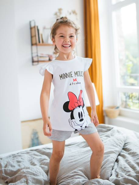 Pijama estampado con short niña Minnie® Blanco medio bicolor/multicolo