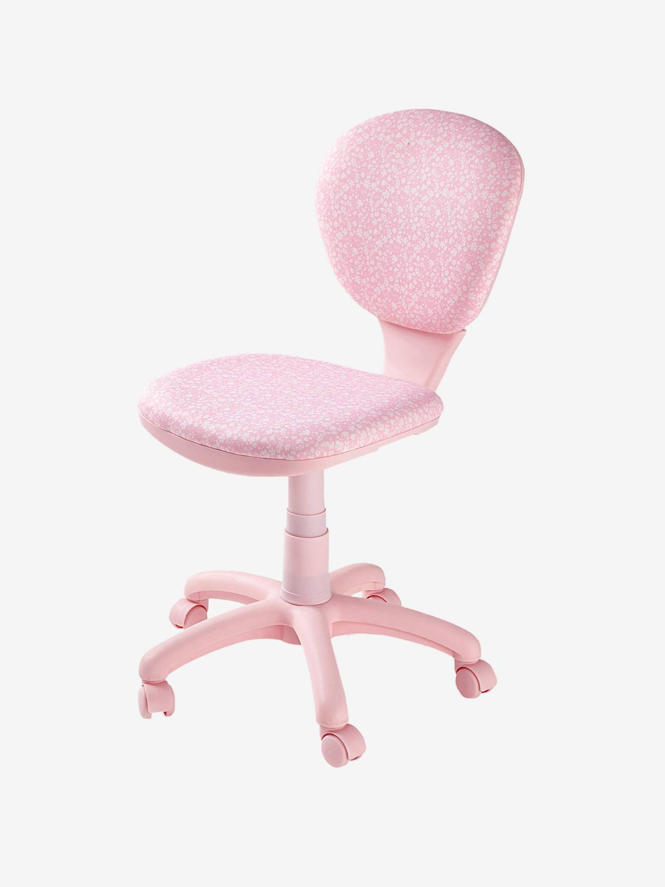 Silla de escritorio con ruedas flores rosa flores vertbaudet for Silla escritorio sin ruedas