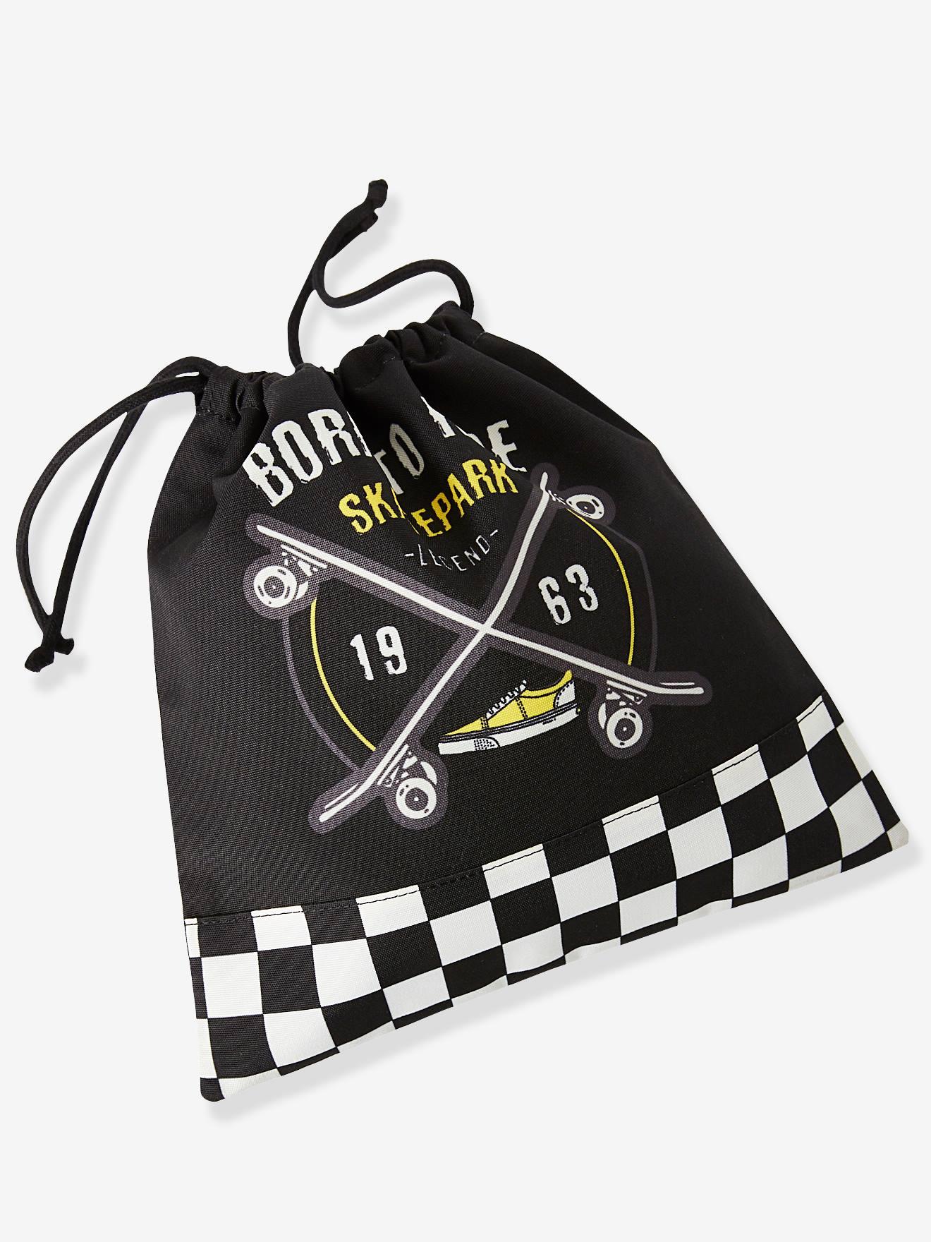 Bolsa para la merienda con motivo skate para niño negro oscuro liso Vertbaudet