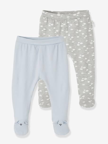 Pantalon De Punto Ligero Para Bebe Recien Nacido Azul Medio Bicolor Multicolor Vertbaudet
